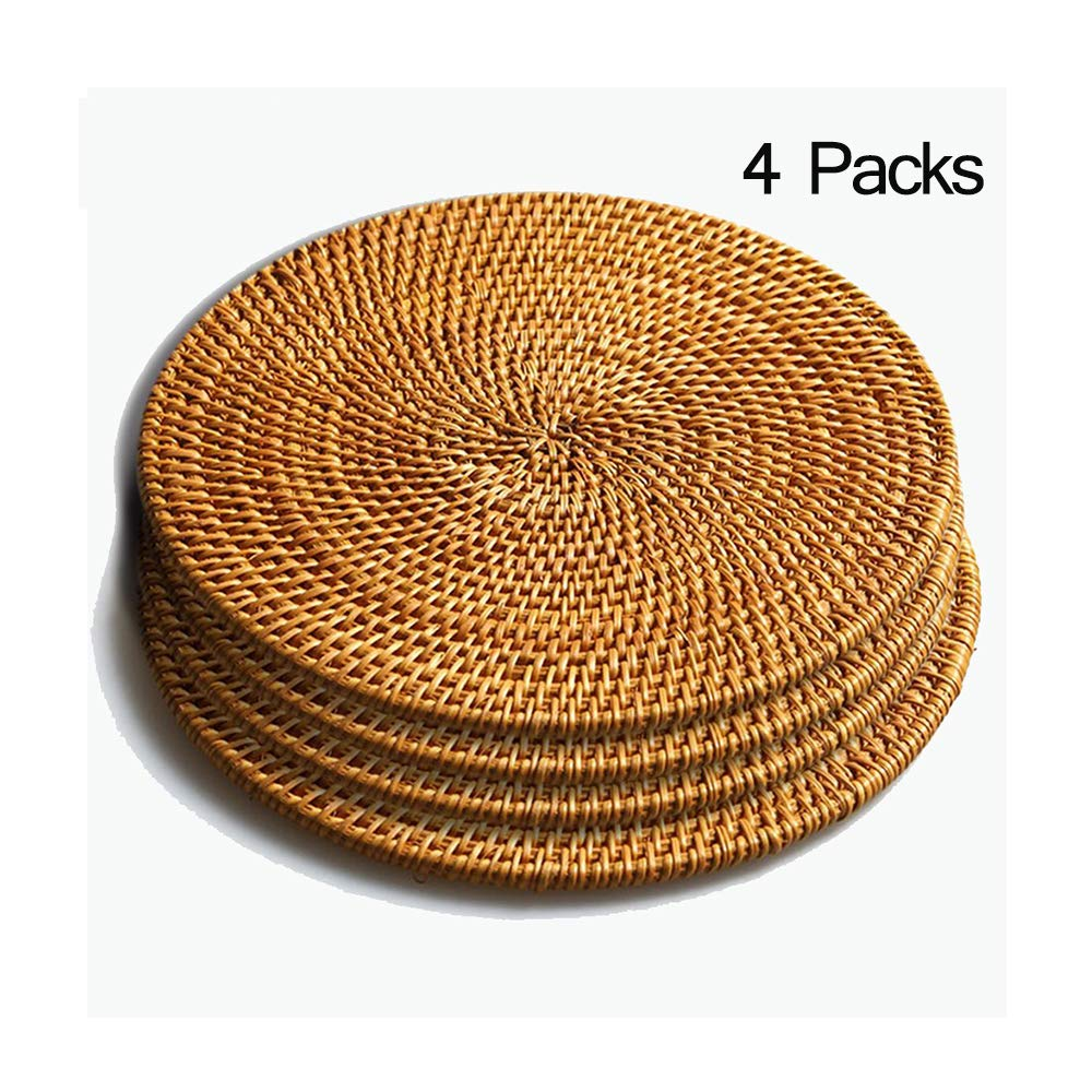 Rattan Trivets for Hot Dishes-Insulated Hot Pads,Durable Pot holder for Table,Coasters, Pots, Pans & Teapots,Natural Wooden Heat Resistant Mats for Kitchen,Set of 4,Round 7.08