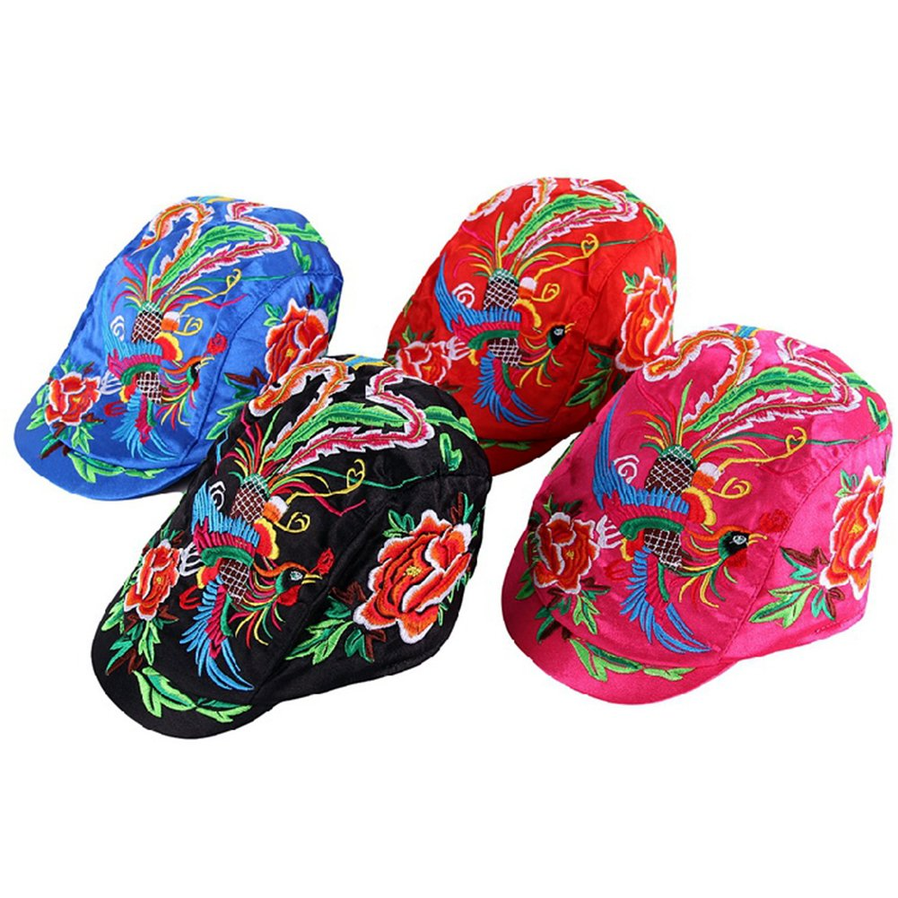 Women Girl Satin Chinese Embroidery Phoenix Peony Fabric Flat Cap FFH139BLK