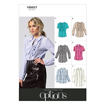 Vogue Patterns V8857 - Patrones de costura para blusas y túnicas de mujer (tallas 44
