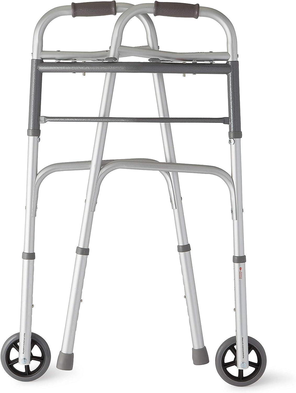 Amazon.com: Medline two-button – Andador plegable con ruedas ...