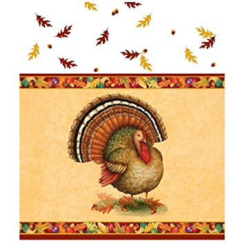 Festive Turkey Thanksgiving Plastic Tablecloth, 84 X 54u0026quot;