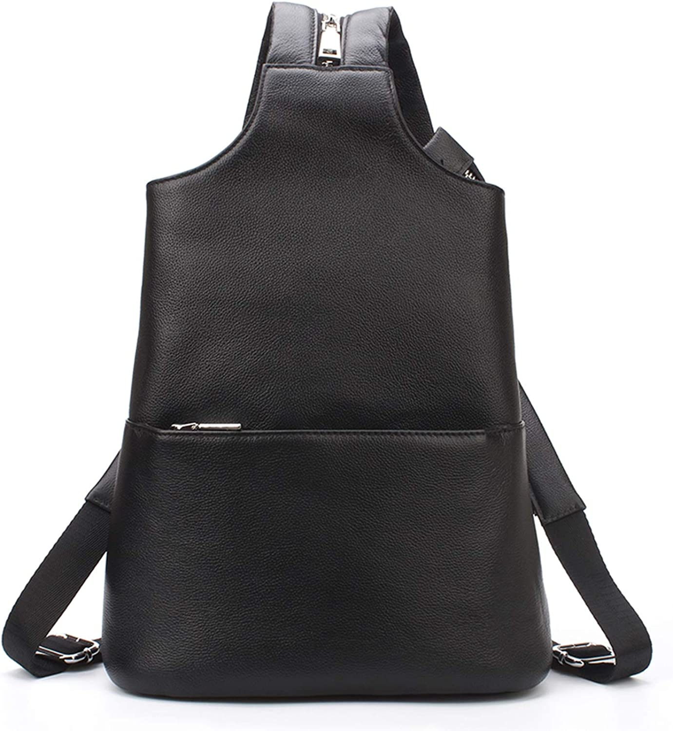 Brand Black Unisex Genuine Leather Backpack Couple Chest Bag Real Leather Simple and Fashion Style,Black