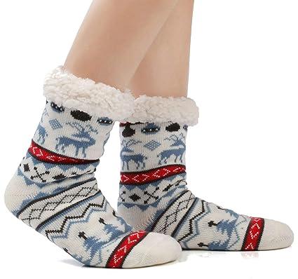 mejor sitio ventas especiales mejor selección JARSEEN Mujer Hombre Navidad Calcetines Invierno Calentar Pantuflas de  Estar Por Casa Super Suaves Cómodos Calcetines Antideslizante