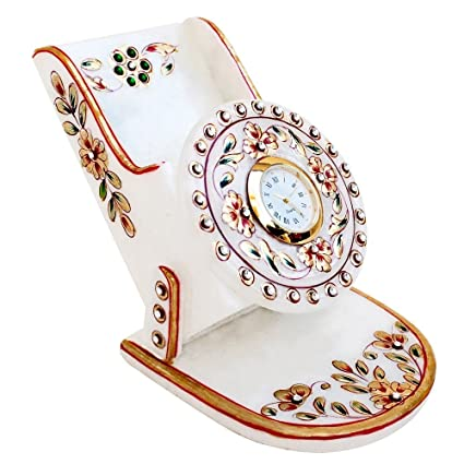 Handicrafts Paradise Rajasthani Work Marble Mobile Holder with Clock (9.5 cm x 10.9 cm x 10.2 cm, Multicolor)