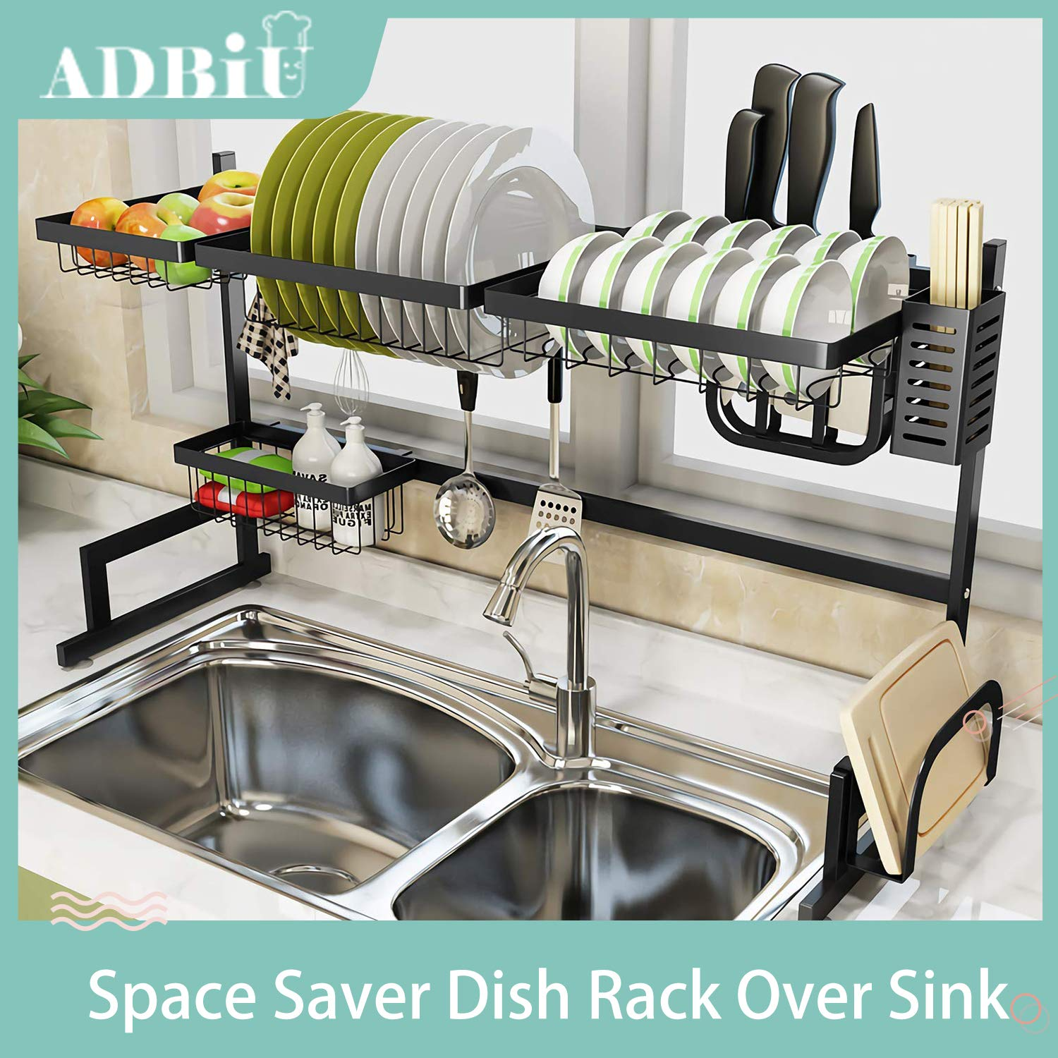 Dish Drying Rack Dish Drainer for Kitchen Sink Stainless Steel Over The Sink Shelf Storage Rack (Sink size ≤ 32.5 inch)(Black, 33.5X12.5X20.5inch)