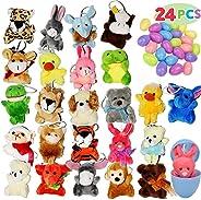 24 Pack Prefilled Easter Eggs of Mini Stuffed Animal Plush Toys Easter Baster Stuffer for Kids Easter Egg Hunt Filler Stuffe