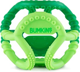 Bumkins Silicone Sensory Teether Ball, Tactile, Flexible, Soft, Multi Texture, Bacteria Resistant - Green