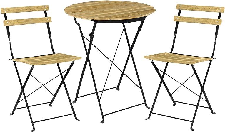 [casa.pro] Set Bistro de Madera (Mesa + 2 sillas) Juego de Muebles de jardín, balcón - Efecto Madera: Amazon.es: Hogar