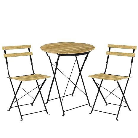 [casa.pro] Set Bistro de Madera (Mesa + 2 sillas) Juego