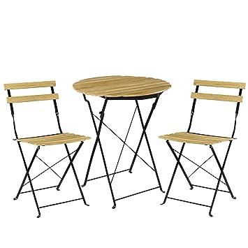 [casa.pro]®] Kit de Bistro Set (Table + 2 Chaise) Meuble du Jardin Balcon -  Aspect du Bois