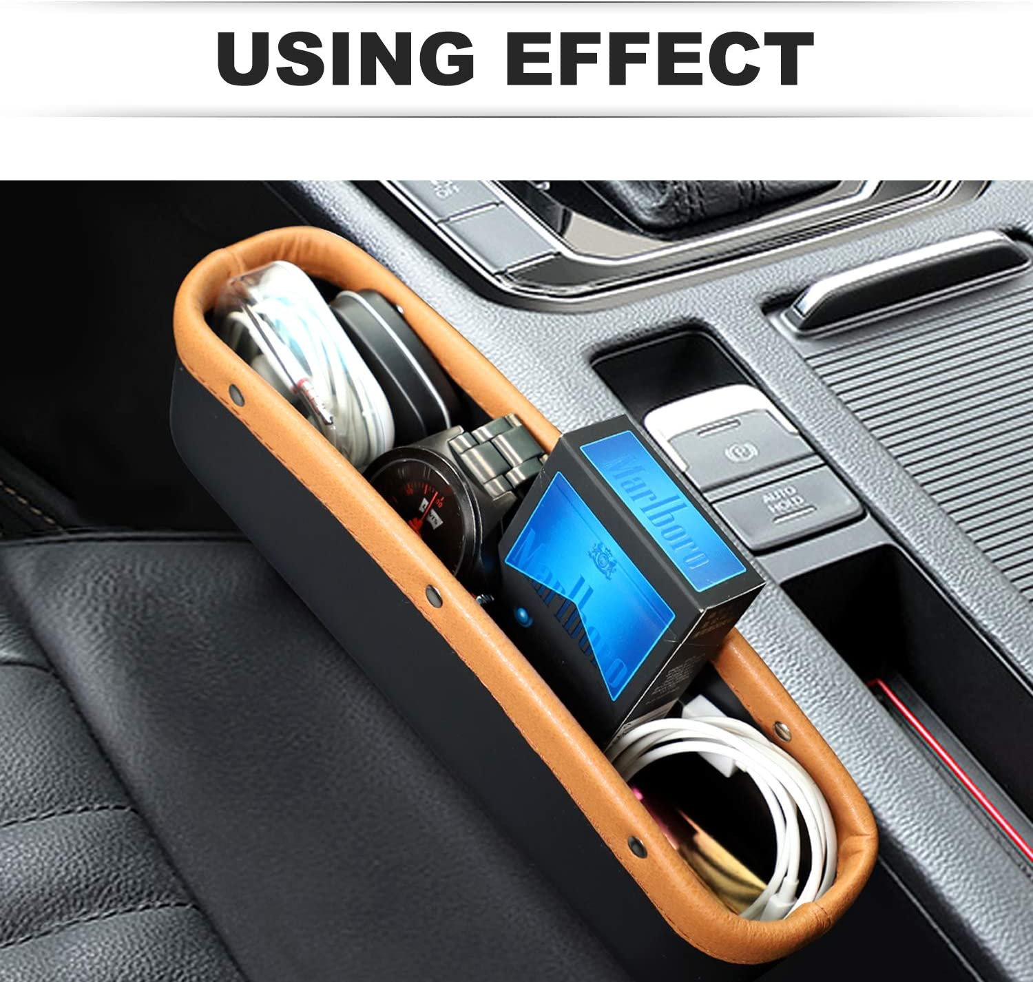 Brown Black HOUSE DAY Car Seat Pockets PU Leather Car Console Side Organizer Seat Gap Filler Catch Caddy with Non-Slip Mat for Phone Key Card Coin Case Car Interior Accessories 2 Pack