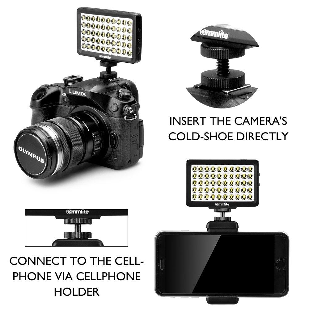 con empu/ñadura Azul Blanco Commlite CM-L50BII Regulable 50 LED Panel de alimentaci/ón Ultra Alta C/ámara LED Luz de Video,Mini c/ámara Universal Luz para tel/éfonos Inteligentes,Canon,C/ámaras Digitales