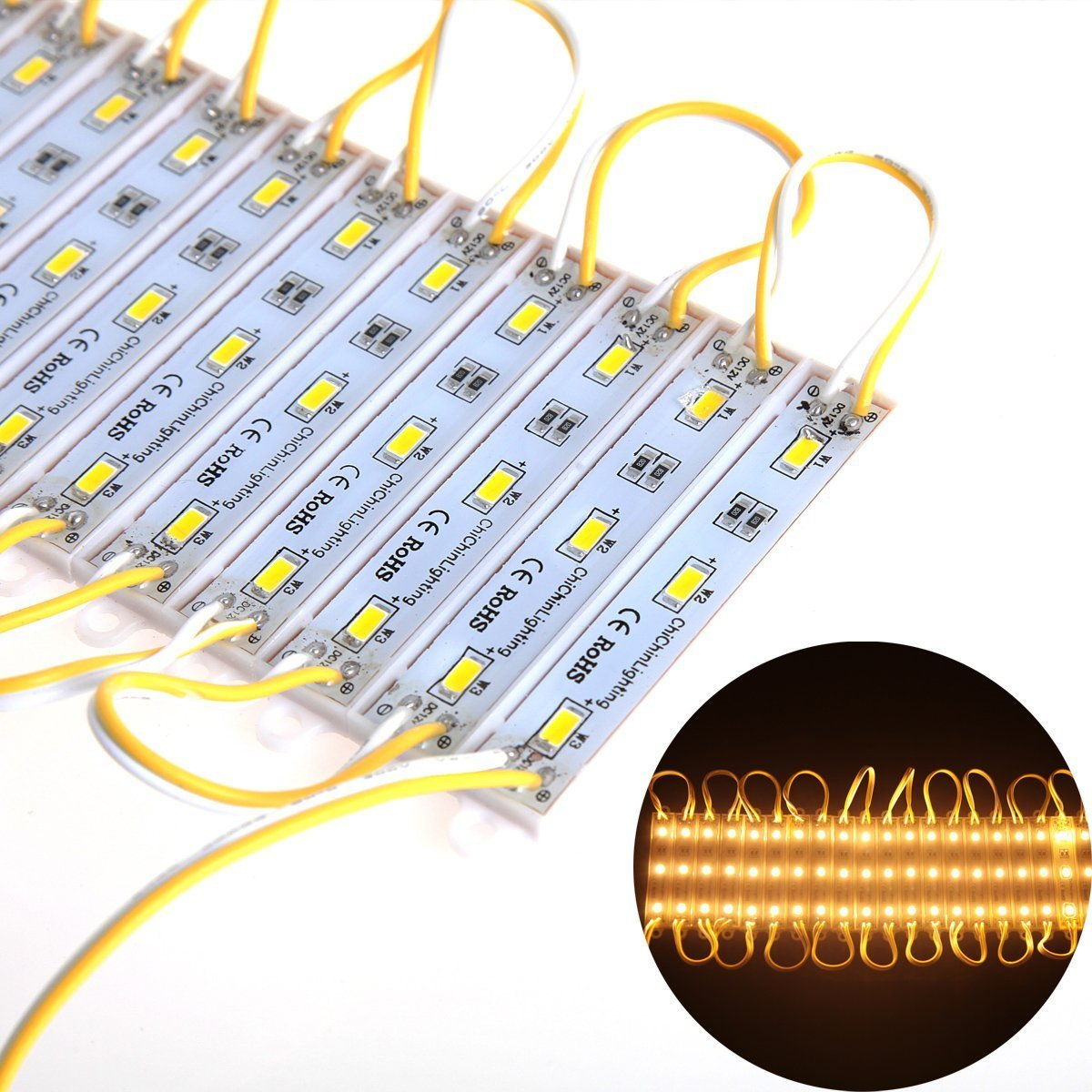 ChiChinLighting 100 Pieces (20 pcs x 5 Packs) - 12 Volt LED Module - SMD LED Chip - Super Bright - IP65 Waterproof (Warm White)