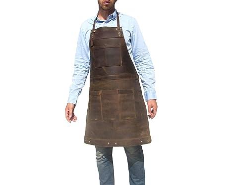 ONE LEAF Delantal de Cuero para Chef Carnicero, Metalúrgico Carpintero Tatuador Taller Garaje Bar Café Restaurante NMDC: Amazon.es: Ropa y accesorios