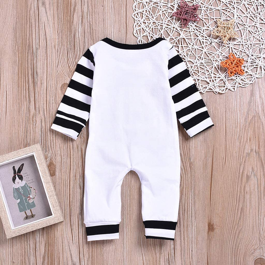 AmaSells New Baby Jumpsuit One-Piece,Newborn Baby Girls Boys Letter Stripe Long Sleeve Cotton Romper Jumpsuit