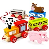 Wooden Wonders Push-n-Pull Busy Barnyard Train (7pcs.) by Imagination Generation