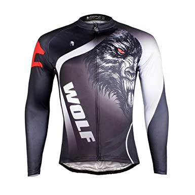 ILPALADINO Men s Cycling Jersey Long Sleeve Biking Shirts Breathable Wolf  Black ... 13c36aeeb