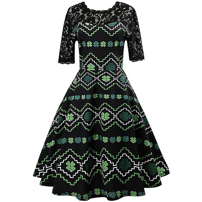 iBaste Vestido de moda Estilo vintage Hepburn con estampado de trébol de cuatro hojas Vestido largo