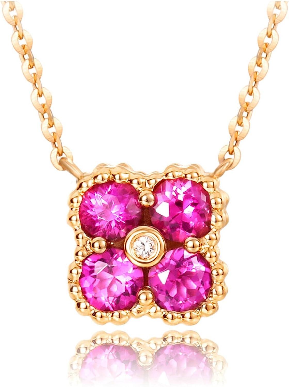 Daesar 18K Oro Collar Para Mujer Collar Flor Collar de Mujer Collar Rubí Rosa Collar Oro Rosa Cadena Longitud 40CM