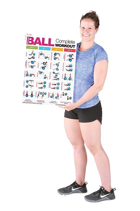 Fitness Bola completa entrenamiento - M - Póster de laminado/gráfico - Core - Pecho - Patas - , hombros y espalda - Construir Músculo, tono & Apriete ...