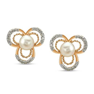 7bdc68841 Buy Mia by Tanishq 14KT Yellow Gold, Diamond and Pearl Stud Earrings for  Women Online at Low Prices in India | Amazon Jewellery Store - Amazon.in