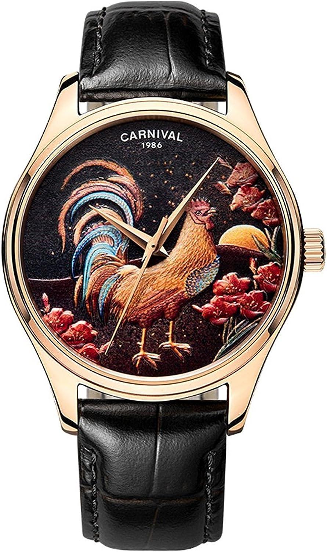 whatswatchカーニバルメンズ動物Cockアナログ表示自動機械マルチカラー腕時計