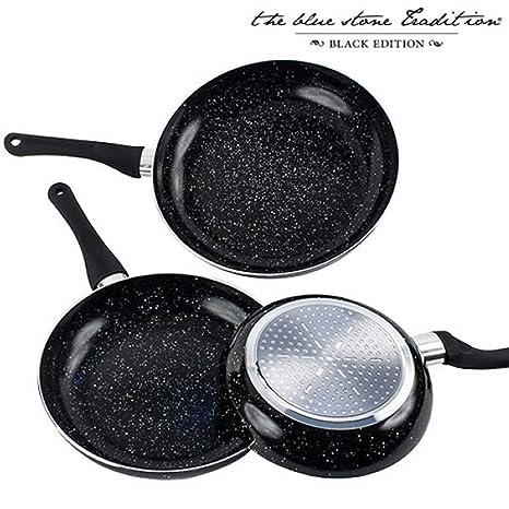 Appetitissime Black Stone Sartenes Antiadherentes, Aluminio, Negro Jaspeado, 28 cm, 3 Unidades