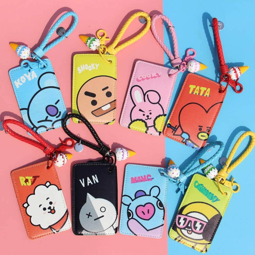 GOTH Perhk Kpop BTS Blackpink EXO Wanna One Twice Seventeen GOT7 PU Leather ID Card Badge Holder with Wrist Strap C: RJ
