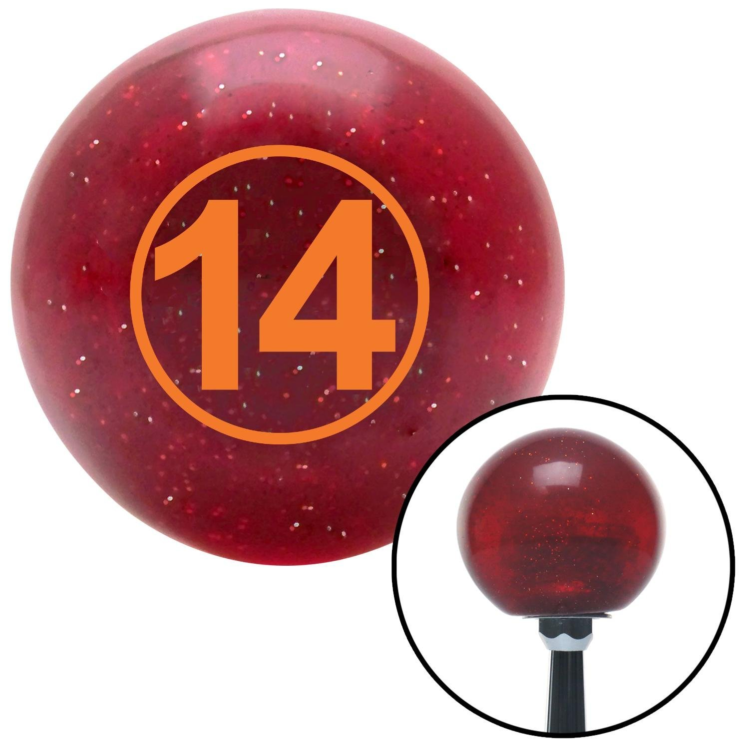 Orange Ball #14 American Shifter 47450 Red Metal Flake Shift Knob with 16mm x 1.5 Insert