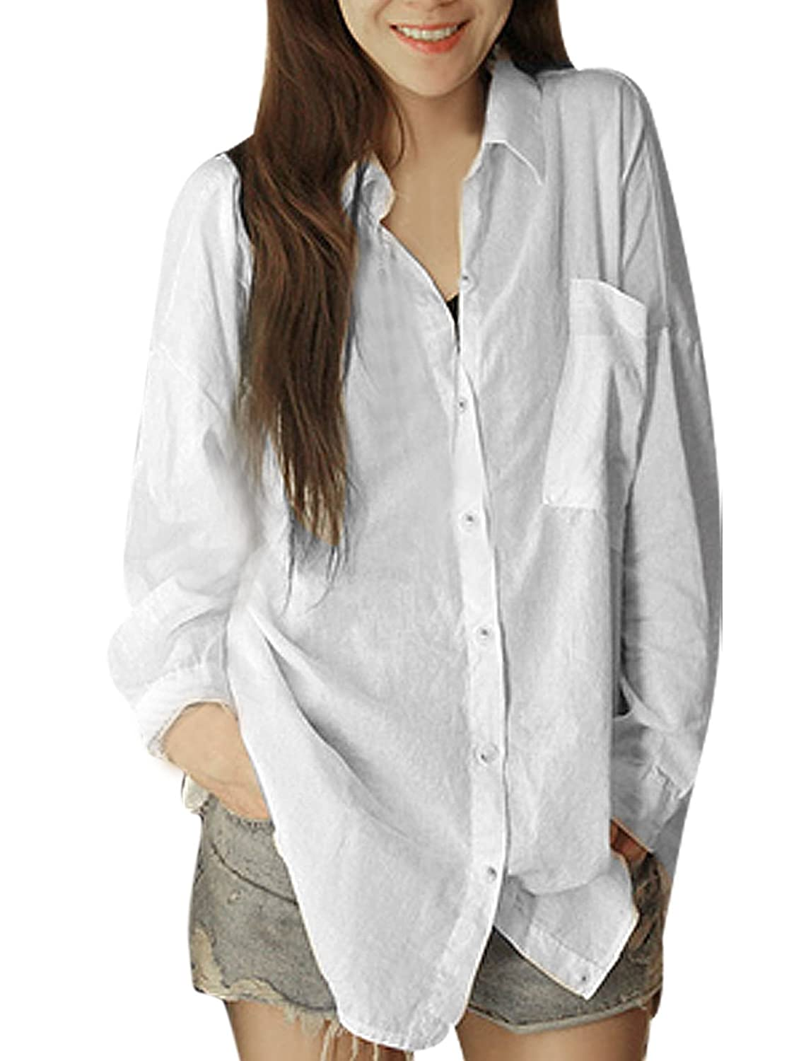 Women Button Up Long Sleeve Point Collar Shirt White S at Amazon ...