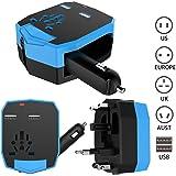 Fogeek Adattatore Universale da Viaggio Caricabatteria per Auto doppia porta USB Universale Charger Converter per US UK EURO AUST spina-Blu