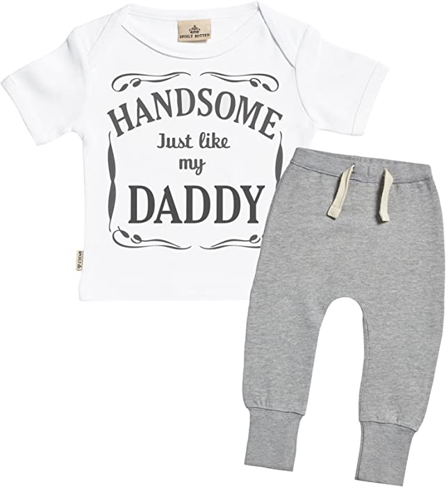b77d456cc SR - Handsome Just Like My Daddy Design Baby Outfit - Baby Gift Set - White  Baby T-Shirt & Grey Baby Joggers - Baby Clothing Outfit - 0-6 Months: ...