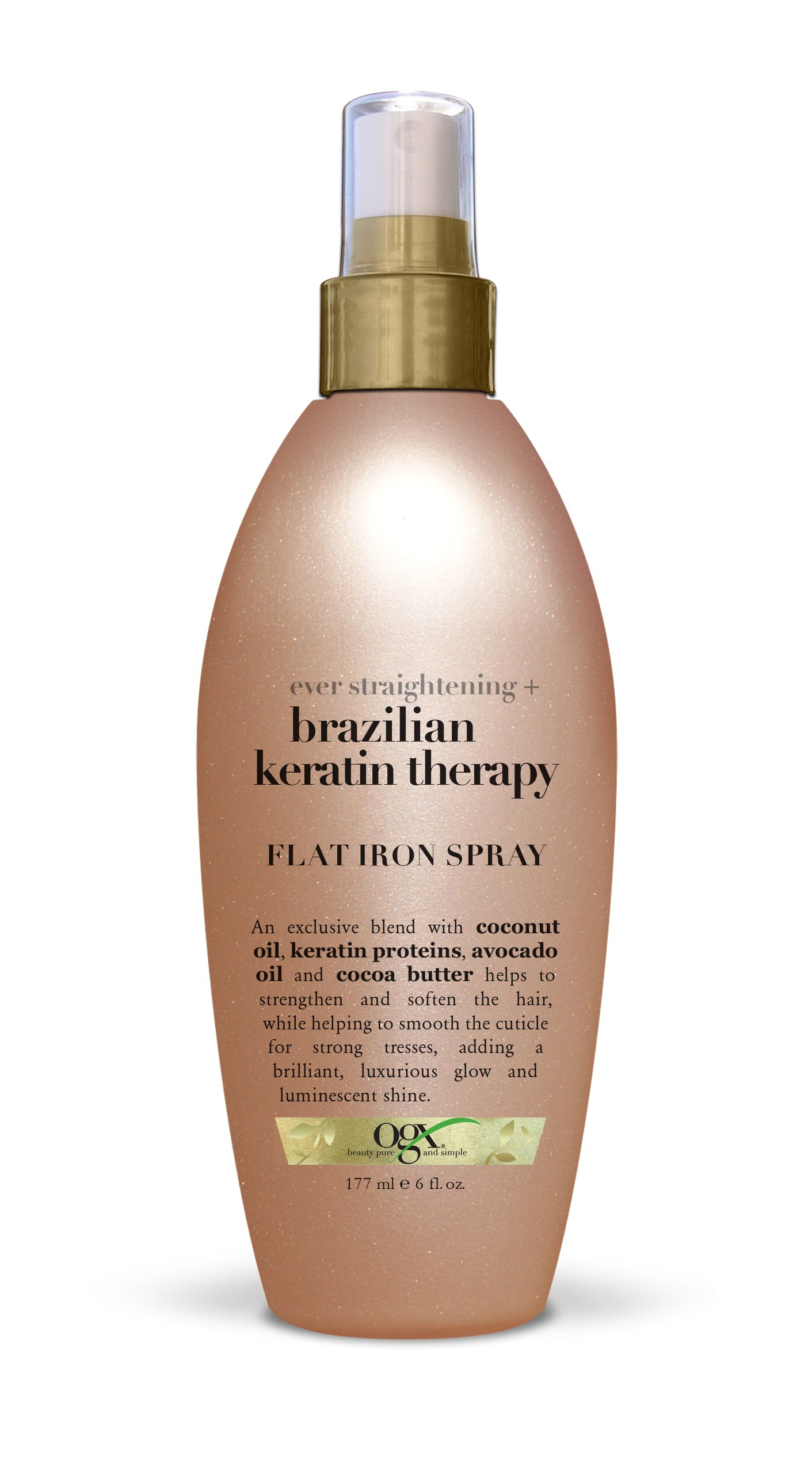 OGX Flat Iron Spray, Ever Straight Brazilian Keratin Therapy, 6oz