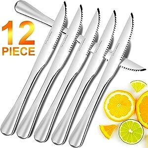 Steak Knives Set of 12, Elegant Life Japan Stainless Steel Kitchen Premium Dinner Knives, Professional Serrated Steak Knives for Multipurpose- 9 Inch