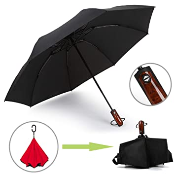 Kobold paraguas invertido Reverse plegable automático abrir/cerrar paraguas resistente al viento ligero compacto portátil