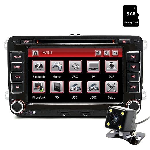 Junsun 7 Pulgada Reproductor Multimedia DVD 2 Din GPS Navegador con Bluetooth Control Volante para Coche Vehículo VW/Volkswagen/Passat/GOLF/Skoda/Seat: ...