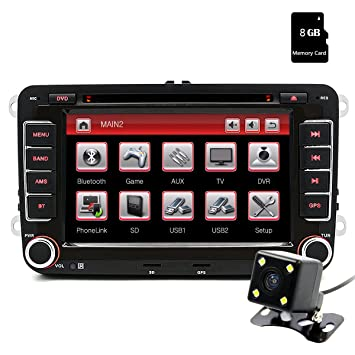 Junsun 7 Pulgada Reproductor Multimedia DVD 2 Din GPS Navegador con Bluetooth Control Volante para Coche