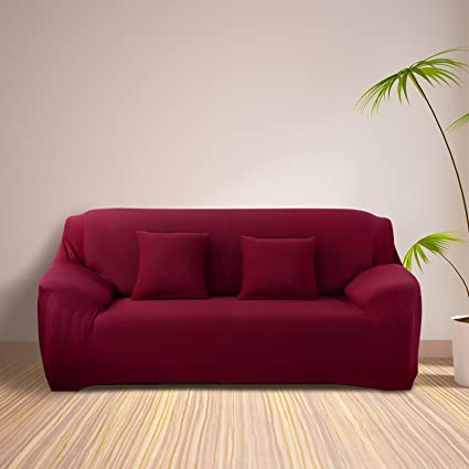 Amazon.com: Mobo Red Sofa Cover - 1-Piece Slipcover for 74-90 Inches ...