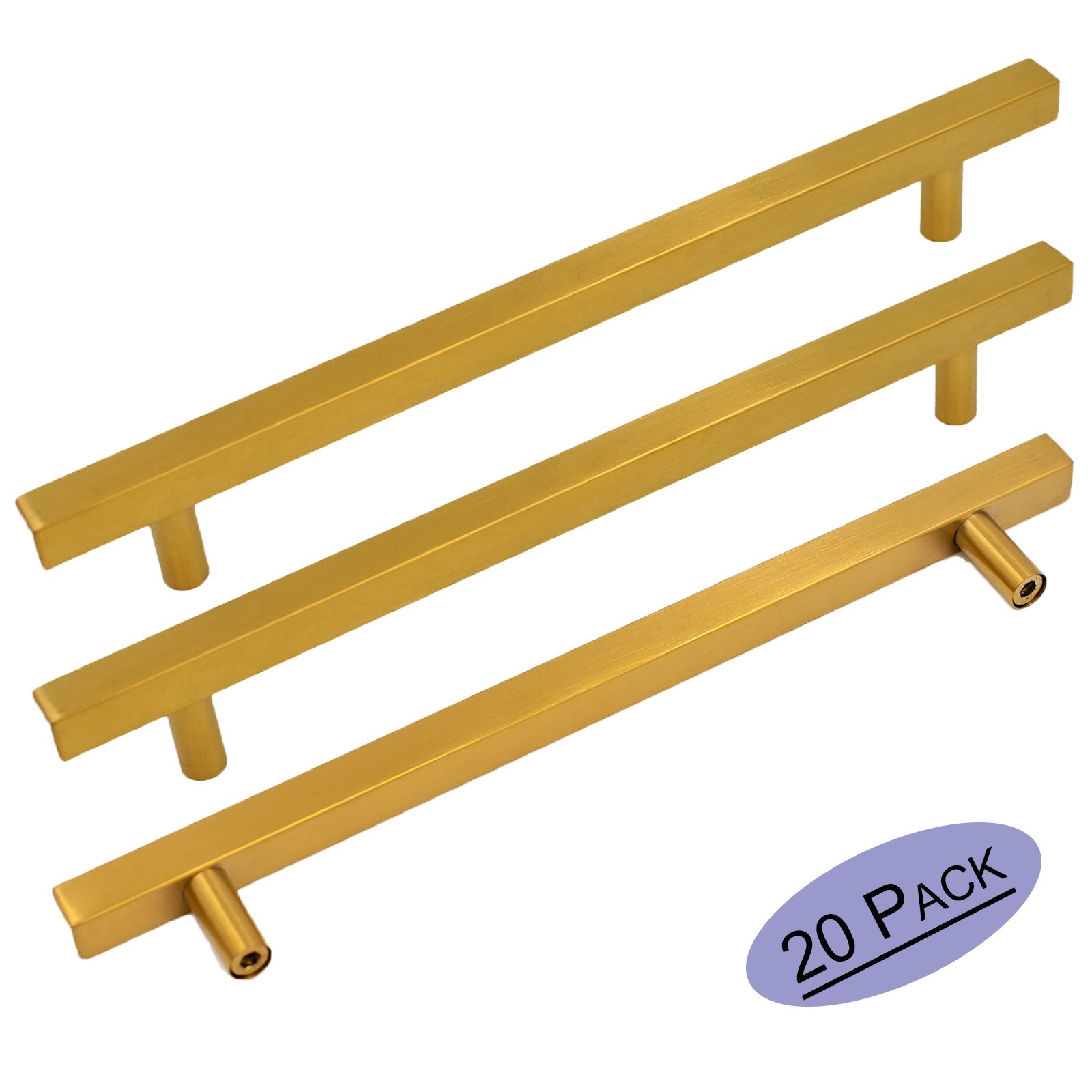 Brushed Brass Cabinet Pulls kitchen Hardware Drawer Pulls 7.5 Inch Hole Centers - Goldenwarm LS1212GD192 Square T Bar Gold Knobs Dresser Cupboard Door Handles Stainless Steel 20 Pack