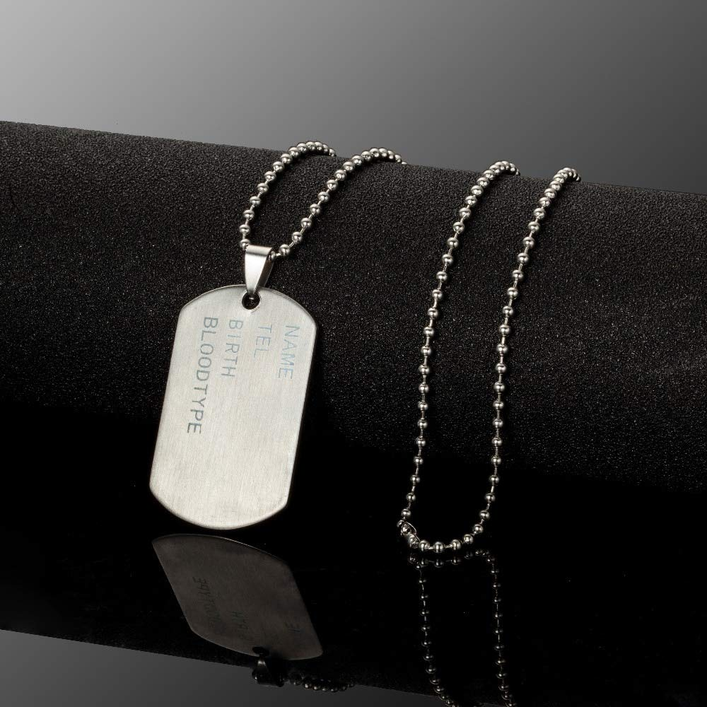 Stainless Steel Mens Necklace Stainless Steel Pendant Dog Tags Army Nameplate Pendant Cross Shaving Blade Necklace For Men