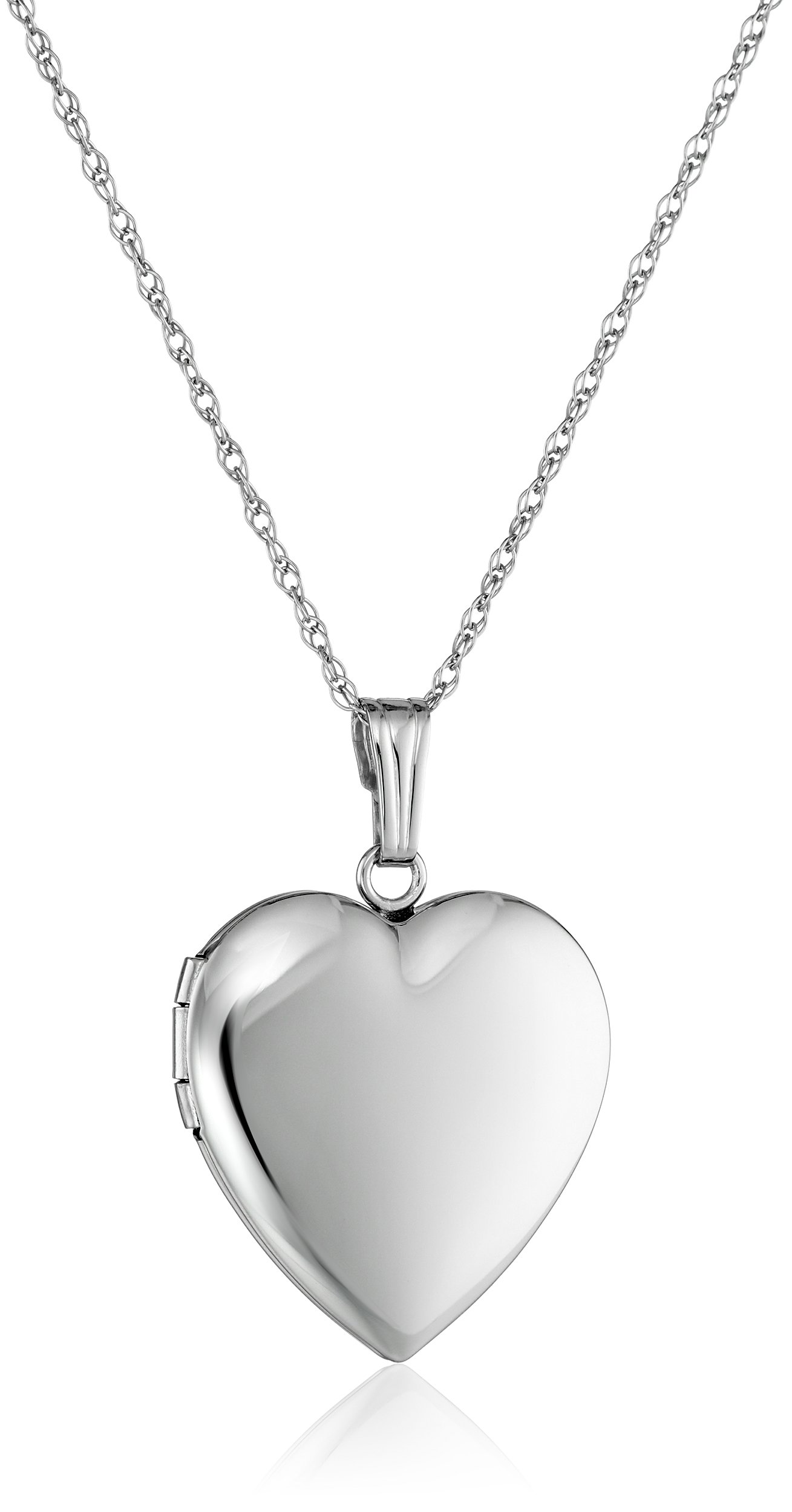 14k White Gold Polished Heart Locket Necklace, 18''