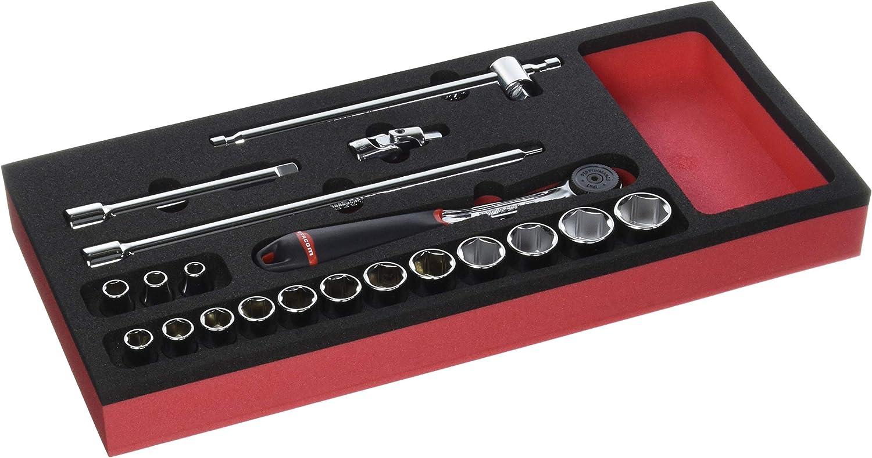 Facom MODM.J161-36 M/ódulo espuma vasos 3//8 Negro//Rojo 20 piezas 6 caras m/étricos