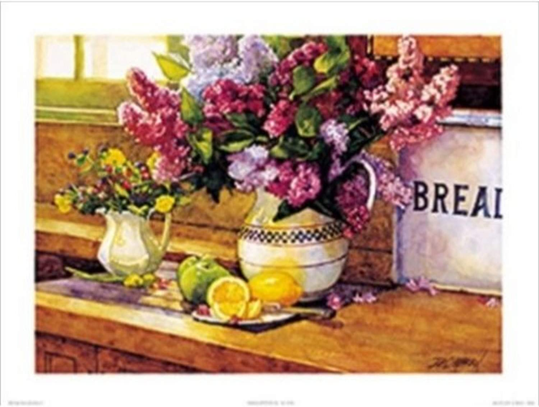 Buyartforless Lilacs and Lemons by Deborah L. Chabrian 24x18 Art Print Poster Vintage Still Life Colorful Flowers Green Apples and Cut Lemon Slices