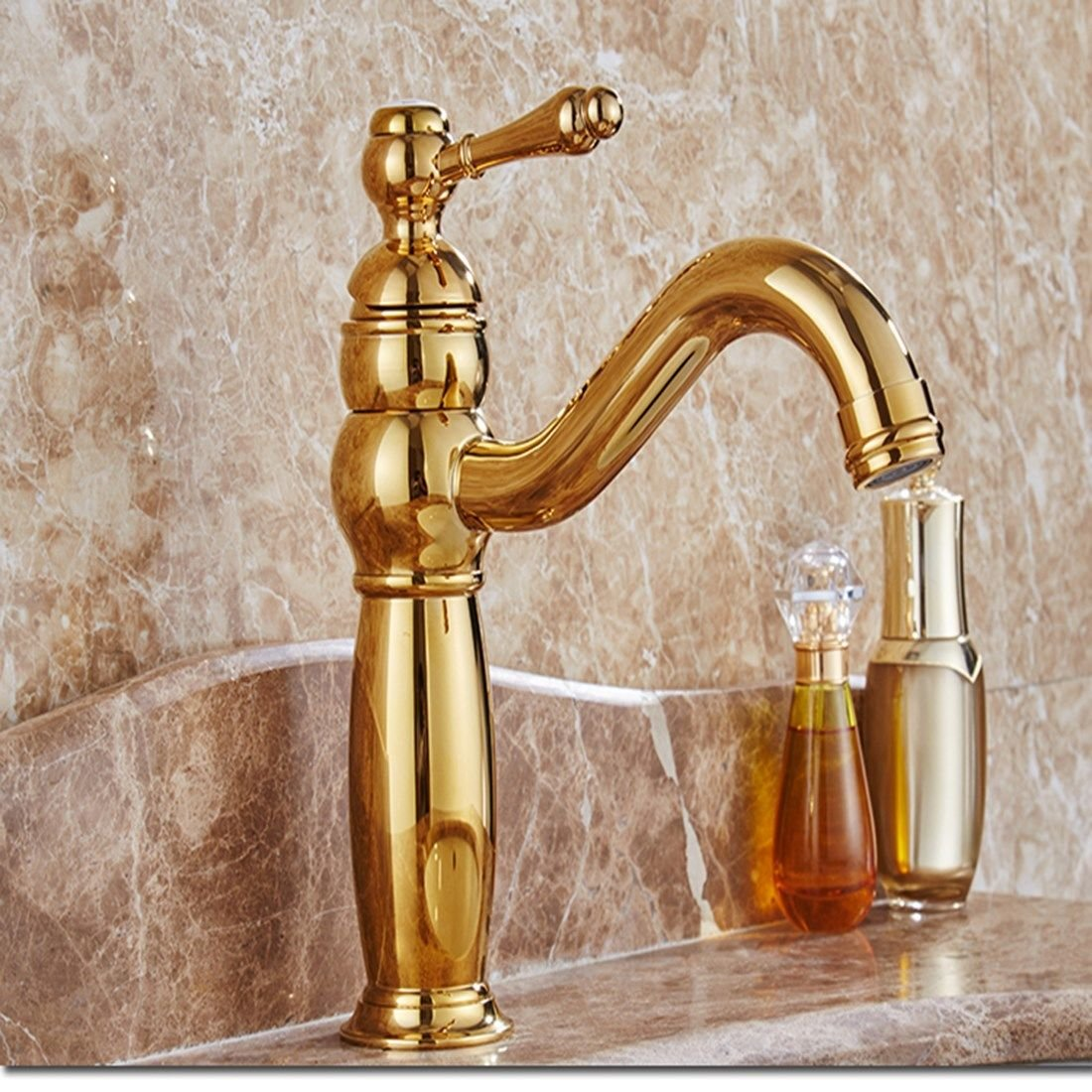 Lpophy Bathroom Sink Mixer Taps Faucet Bath Waterfall Cold and Hot Water Tap for Washroom Bathroom and Kitchen golden Hot and Cold Copper 360 redating gold-Plated Antique