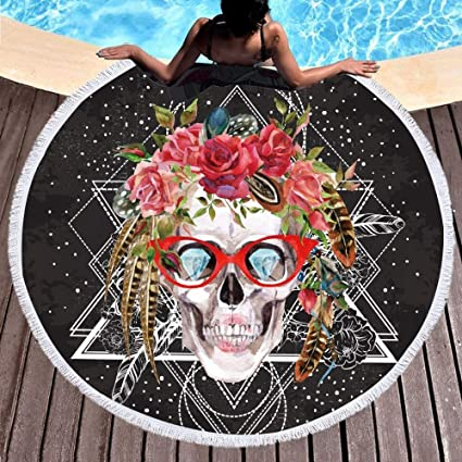 Amazon.com : Sugar Skull with Glasses Round Beach Towel Pop ...