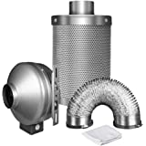 iPower 4 Inch 190 CFM Inline Fan, with 4 Inch Carbon Filter and 8 feet duct combo, 2 clamps included, grow tent ventilation system