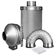 """iPower 4 Inch 190 CFM Duct Inline Fan with 4"""" Carbon Filter 8 Feet Ducting Combo for Grow Tent Ventilation"""