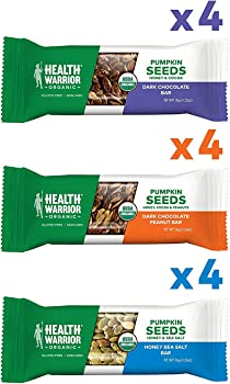 12-Pack Health Warrior Organic Pumpkin Seed Protein Bars Variety Pack