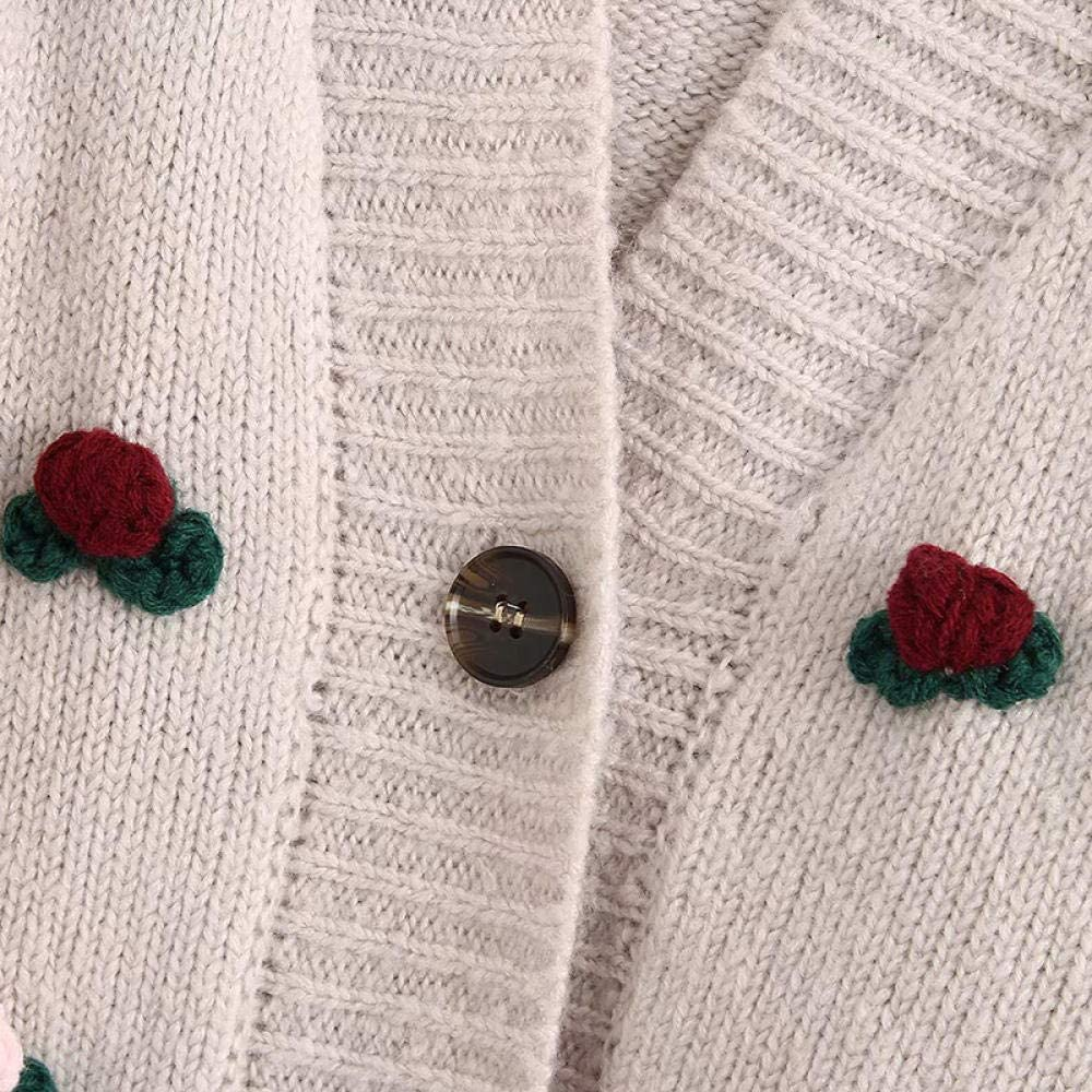 Strickjacke Jacke Mode 3D Blumen Plüsch Ball Dekoration Frauen Pullover Jacke V-Ausschnitt Kurzes weibliches Strickhemd A