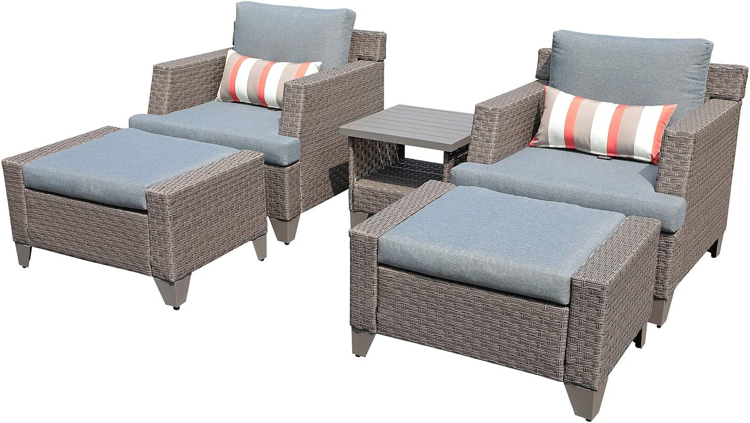 SUNSITT 5-Piece Outdoor Patio Furniture Set, PE Wicker Patio Lounge Chair and Ottoman Set with Grey Cushions & Side Table, Waterproof Furniture Cover Include